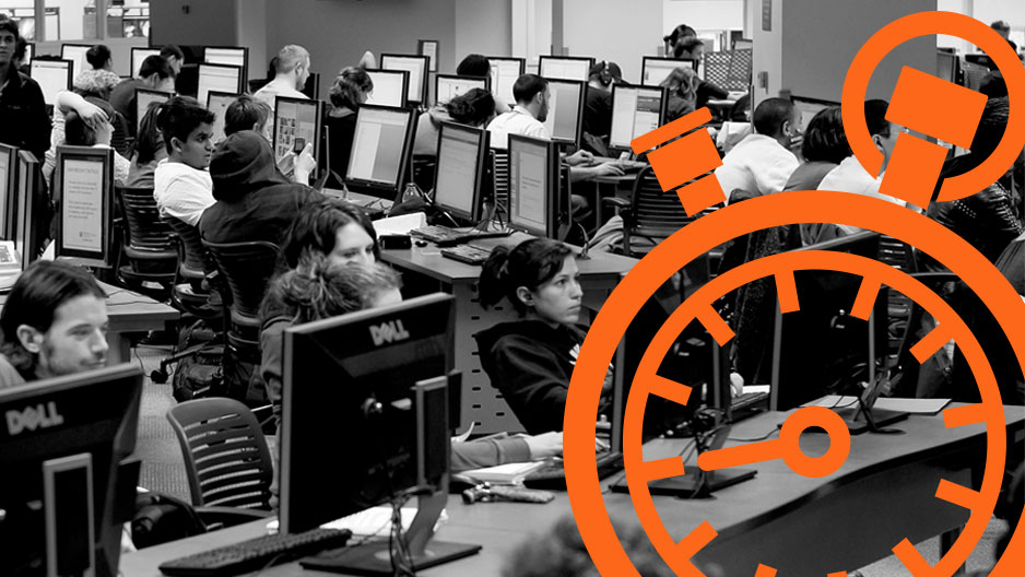 Black and white graphic with a clock animation to emphasize the semester countdown.