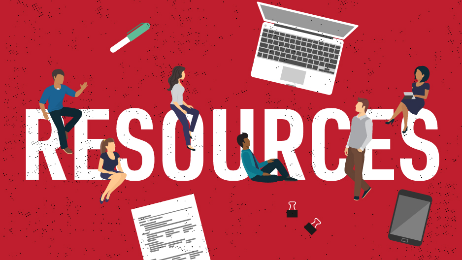 "An illustration with bold text that reads ""resources"" with figures and objects."