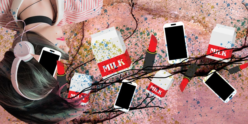 A vine that is growing cartons of milk, lipsticks and cellphones emerging from a woman's head.