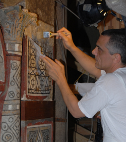 Red Monastery Project chief conservator Luigi De Cesaris at work.