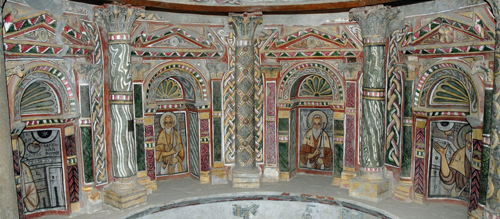 Walls paintings at the church of the Red Monastery in Sohag, Egypt