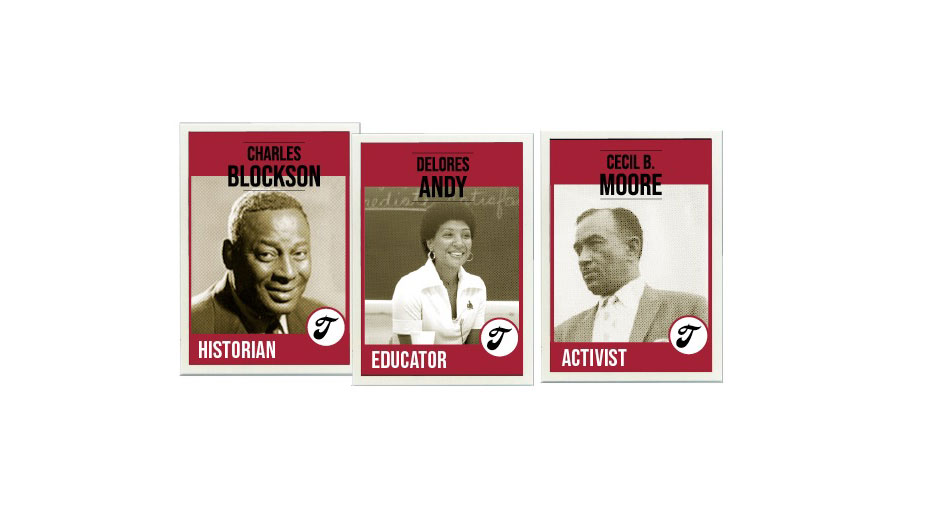Charles Blockson, Delores Andy and Cecil B. Moore each on their own baseball-inspired card.