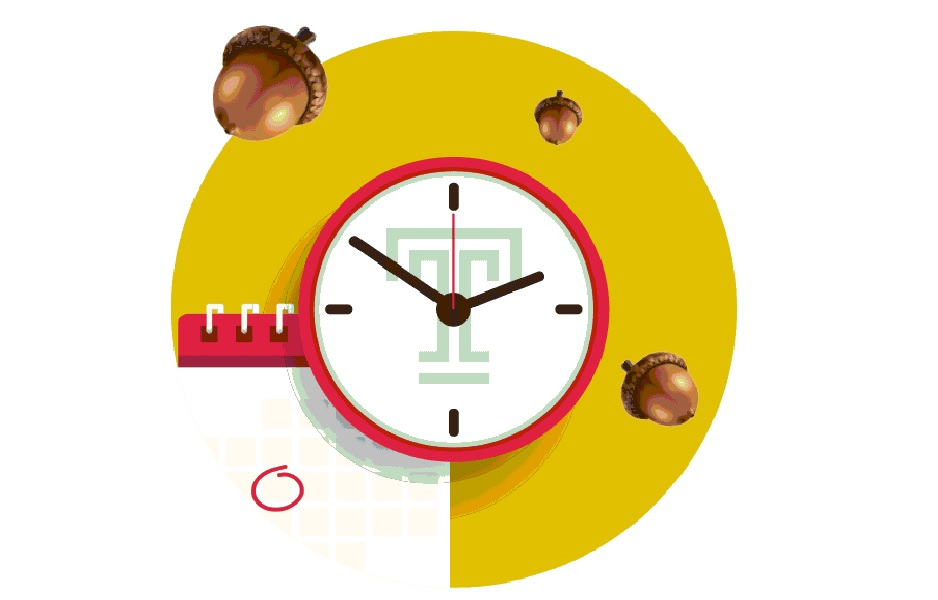 "A clock with a Temple ""T"" on its face next to a calendar with floating acorns hovering above."