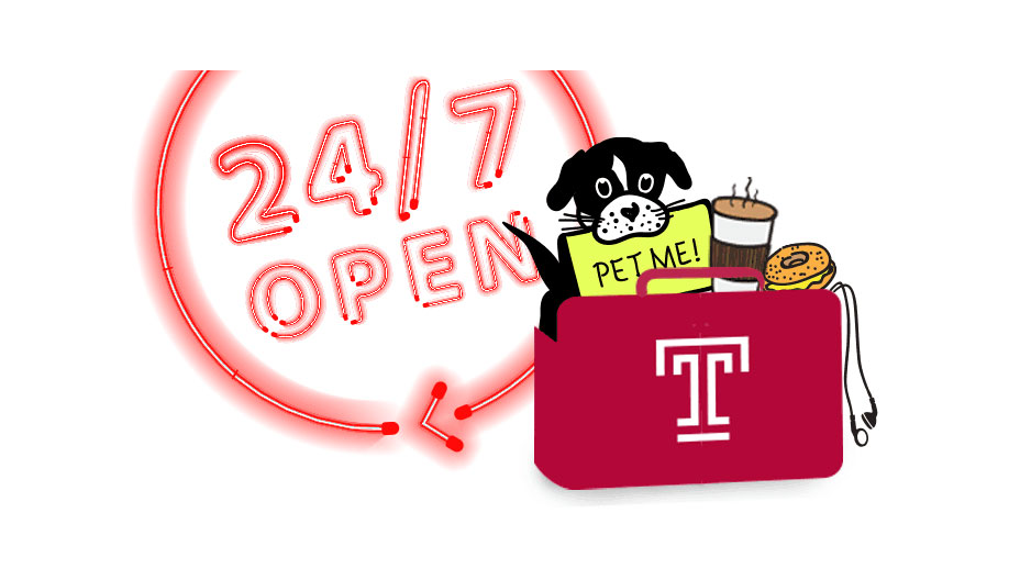 """A neon """"open 24/7"""" sign next to a bag packed with a bagel, coffee, headphones and a puppy."""