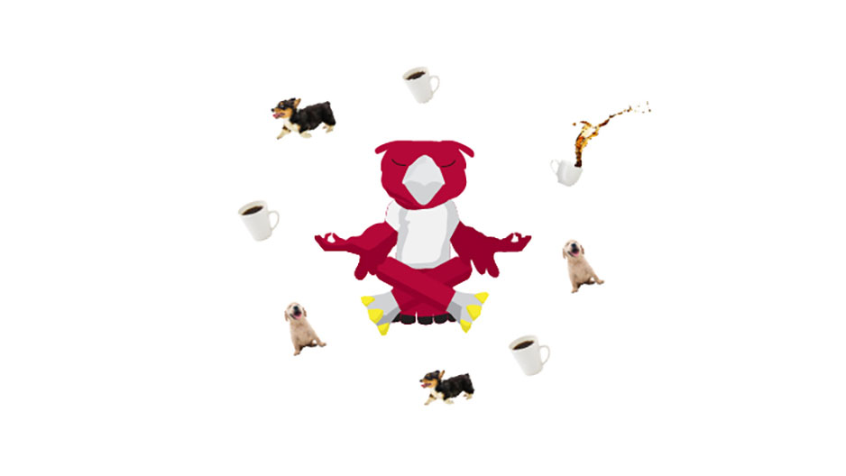 An animated GIF of Hooter meditating while cups of coffee and dogs float around his head.