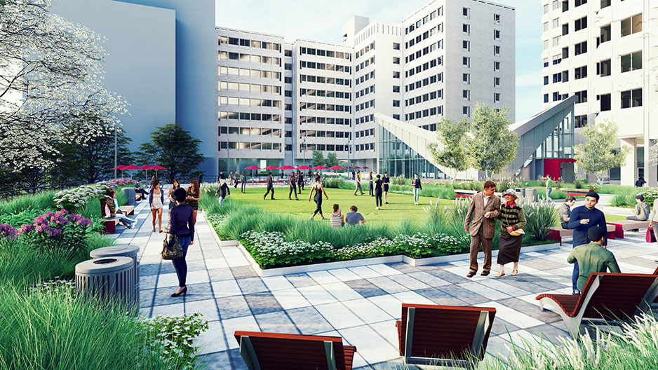 rendering of updated terrace at Anderson and Gladfelter halls