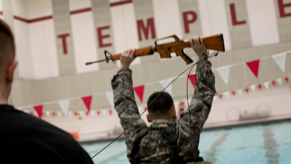 ROTC students during water training at Temple's pool