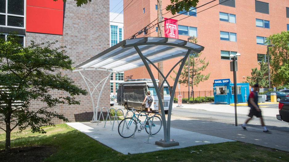 A new covered bike shelter installed on campus.