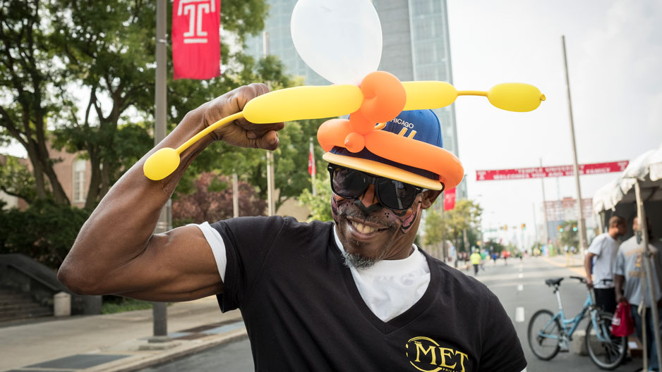 Man in a balloon hat