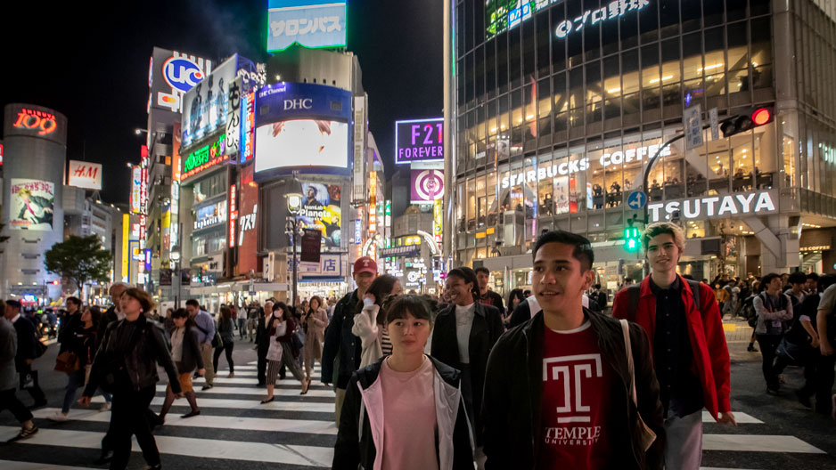 Temple students crossing the street in Tokyo