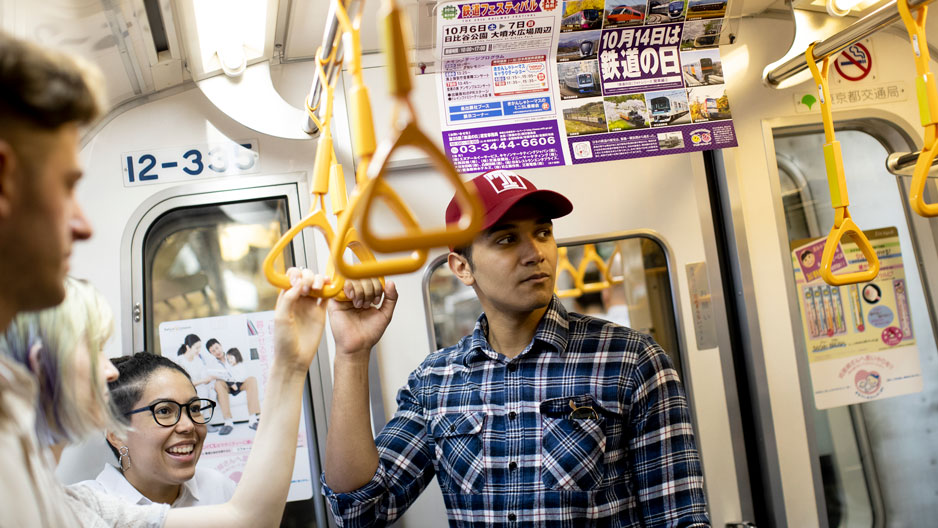 Temple student on the subway in Japan