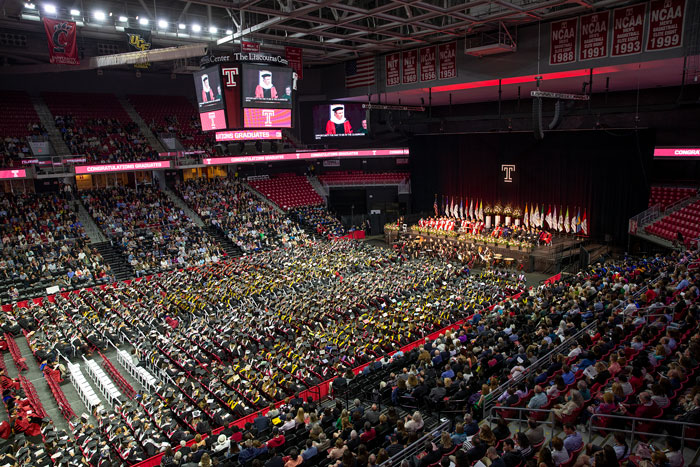 graduates and spectators filling the Liacouras Center