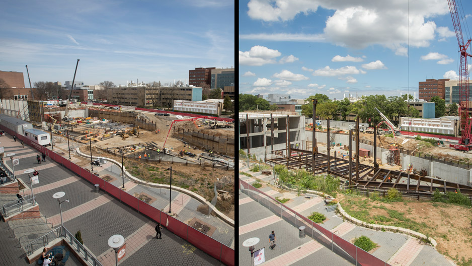 side by side photos showing library construction in April and July.