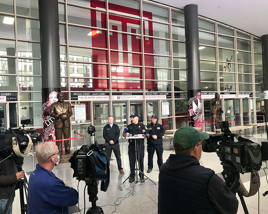 news conference outside Liacouras Center