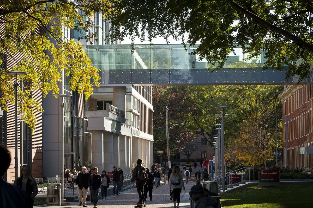 the glass skywalk connecting Speakman Hall to 1810 Liacouras Walk