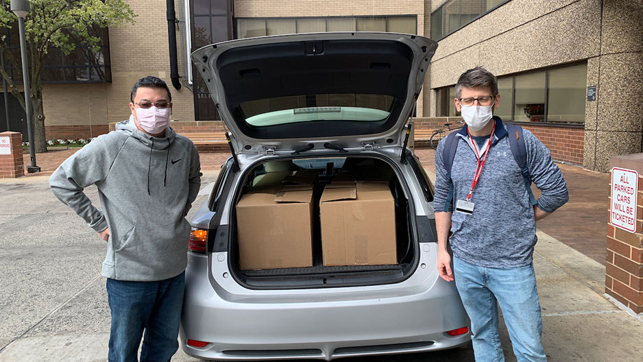 task force members deliver face shields to Temple University Hospital