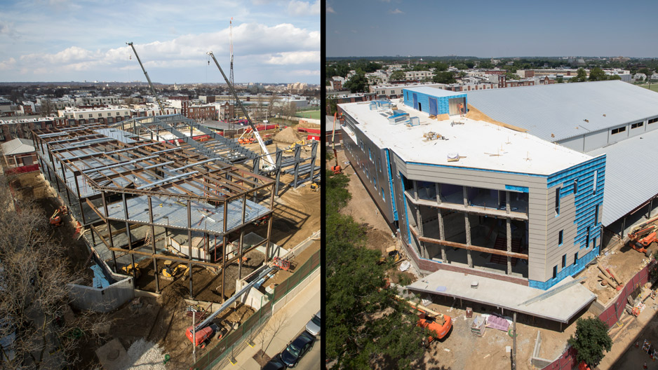 side by side photos showing progress on the Student Training and Recreation complex