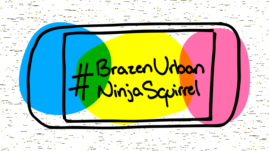 "A cell phone displaying ""#BrazenUrbanNinjaSquirrel"" on its screen in shades of yellow, blue and pink that mimic highlighters."