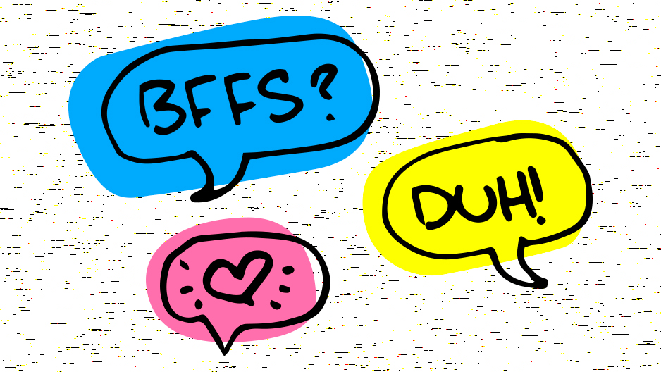 Various word bubbles that represent a conversation between two people becoming friends in shades of yellow, blue and pink that mimic highlighters.