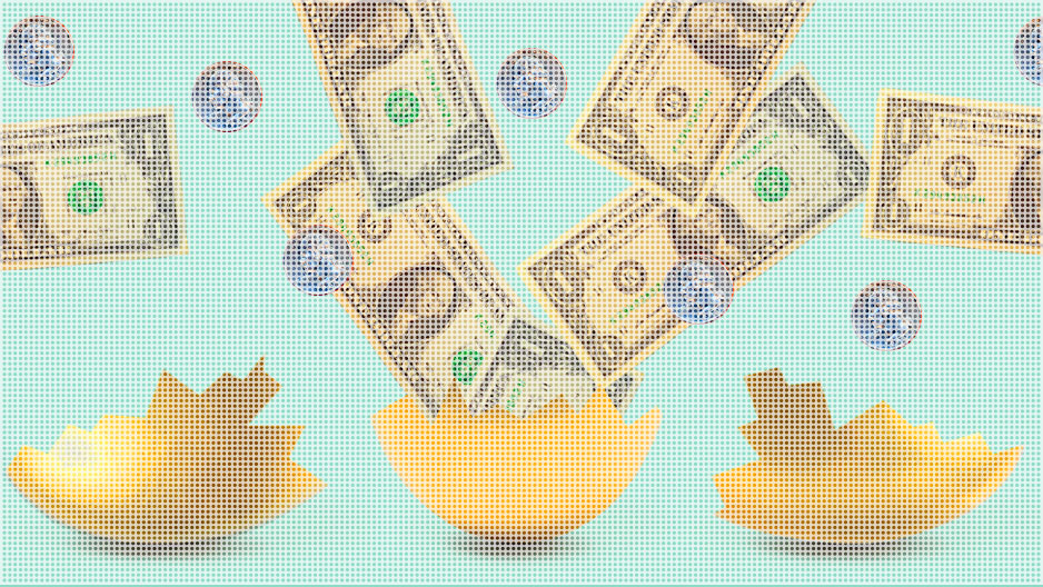 Animated graphic of egg splitting open and money flying out.
