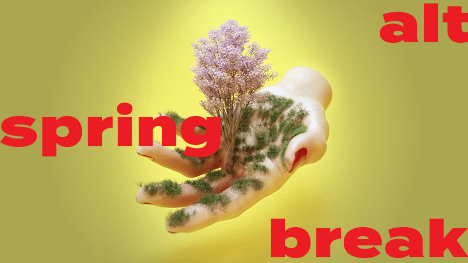 Animation of an open hand with growing greenery.
