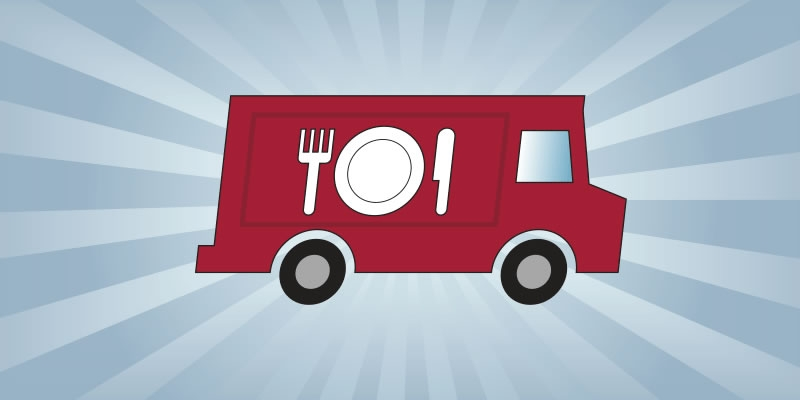 An illustrated food truck with a plate, fork and knife on the side of the truck.