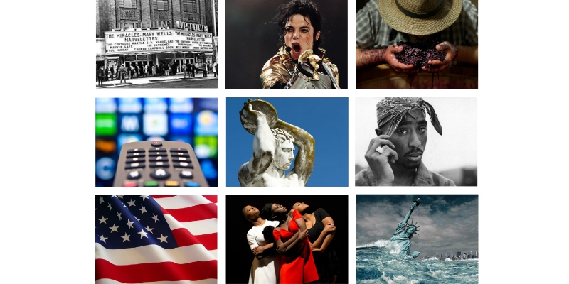 An animated GIF of several images, such as Tupac, Michael Jackson and the American flag, to illustrate various classes.