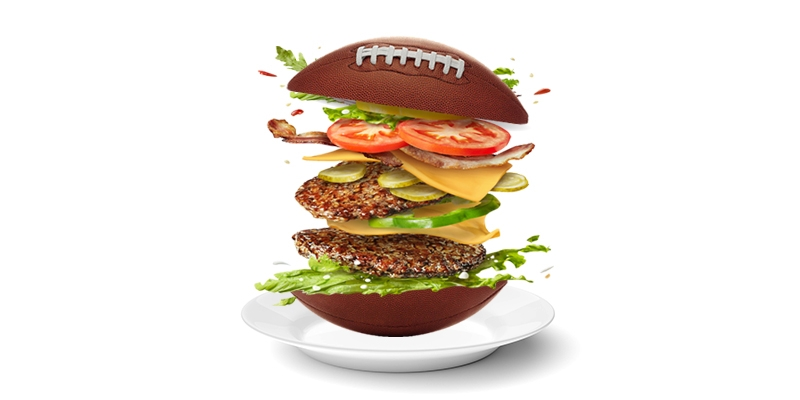 An illustration of a double bacon cheeseburger that has a football as a bun.