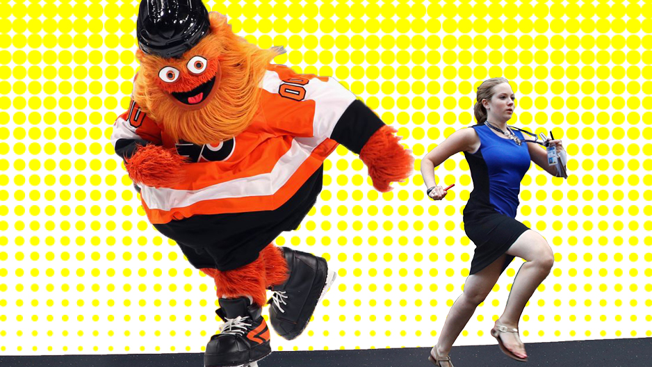 Gritty chasing the Temple student journalist who went viral for running out of the courthouse.