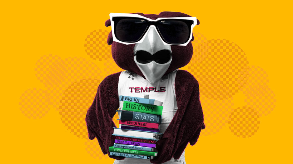 Hooter wearing sunglasses and holding a tall stack of books.