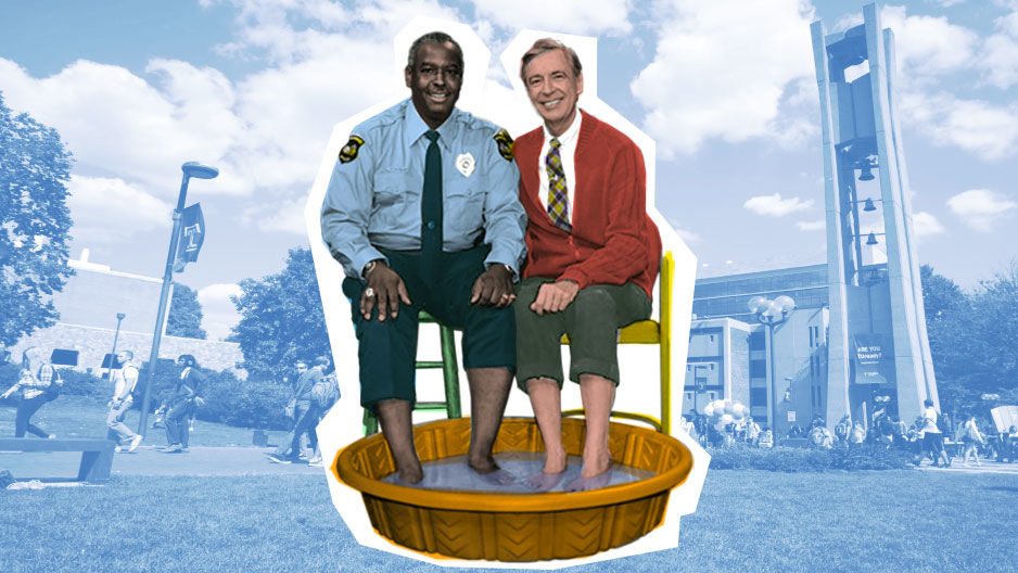 Mister Rogers soaking his feet with Officer Clemmons near the Bell Tower.