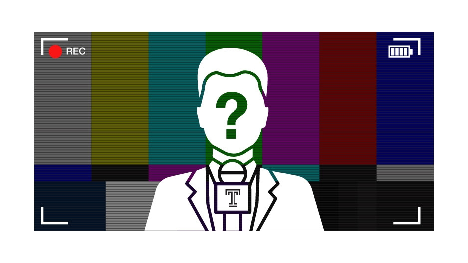 A silhouette of a person with a question mark over their face talking to a video camera.