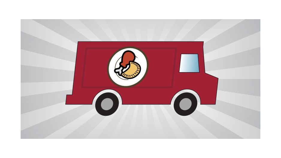 An illustrated food truck with a chicken drumstick and a fried pastry on its side.