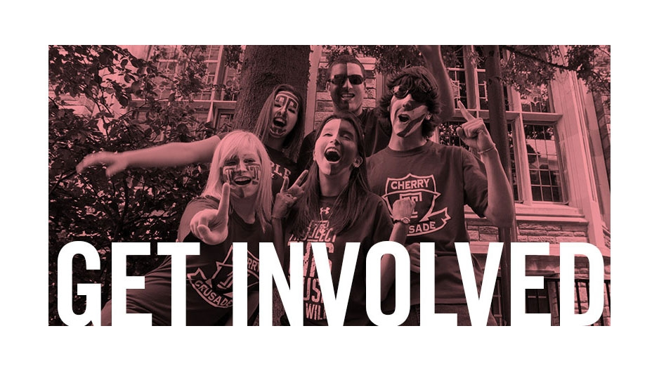 "Temple students showing their Owl pride with text that reads ""get involved""."