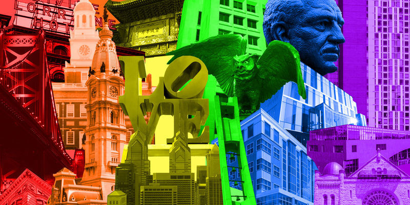 An illustration of landmarks in Philadelphia and on Temple's campus with rainbow colors.