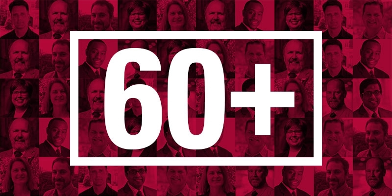 """collage of portraits of some new faculty members with """"60+"""" over it"""