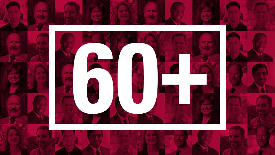 "collage of portraits of some new faculty members with ""60+"" over it"