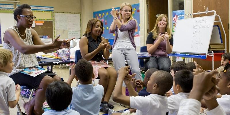 preschool students during a classroom lesson.