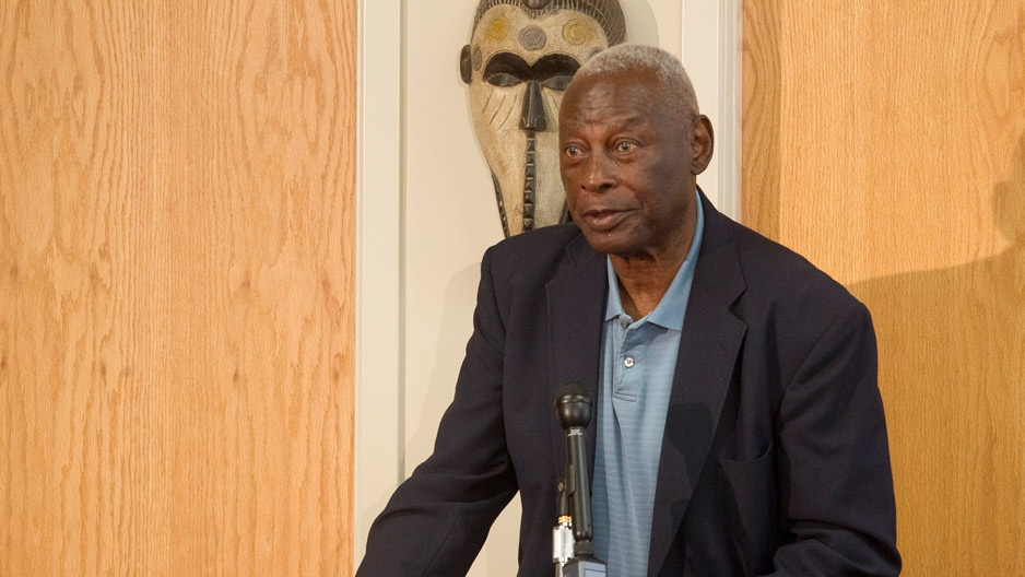Charles Blockson speaking at a podium