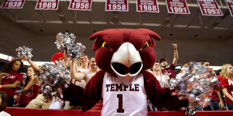 Hooter at a Temple basketball game.