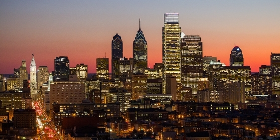 Philadelphia's skyline from Temple's Main Campus.