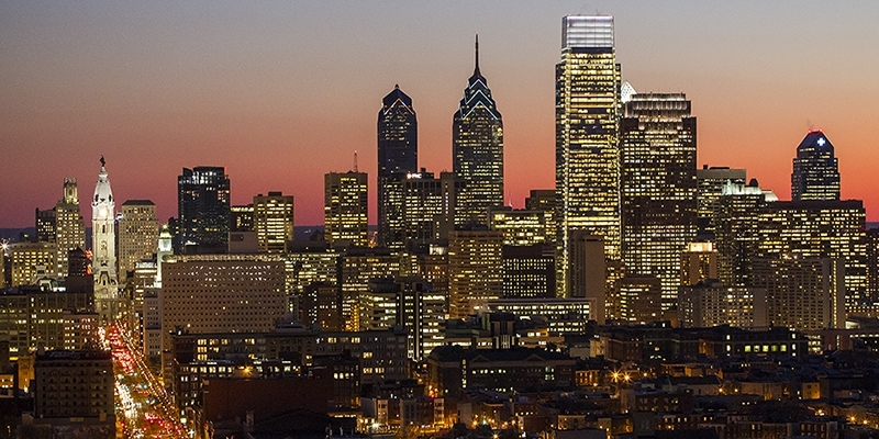 The Philadelphia skyline at sunset.