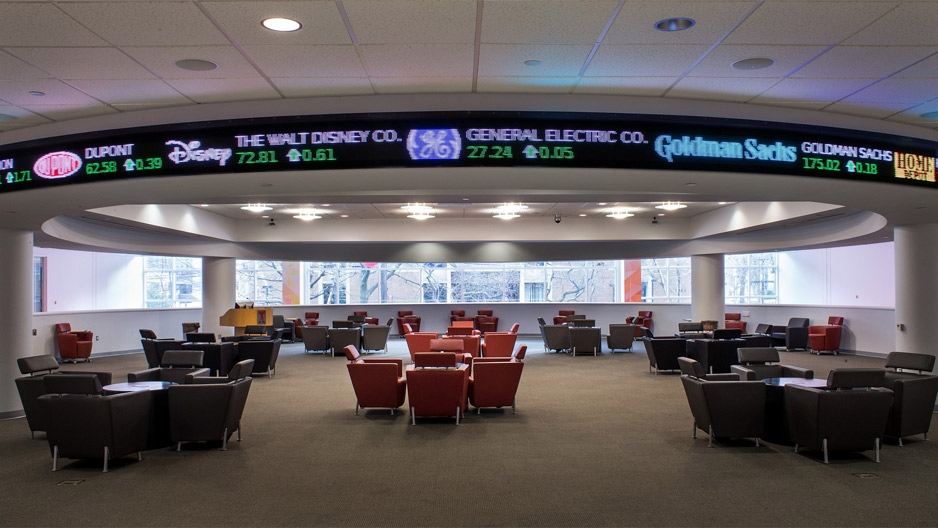stock ticker inside Alter Hall at Temple University