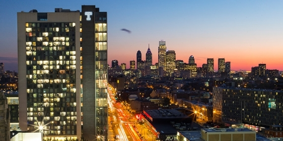 Philadelphia skyline, including Morgan Hall on Temple's Main Campus.