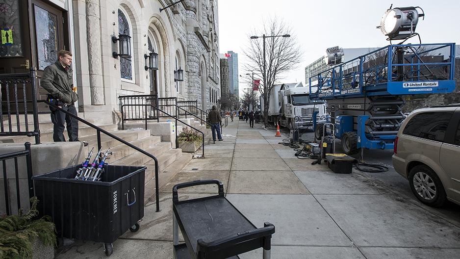Lighting equipment on the sidewalk outside the Temple Performing Arts Center.