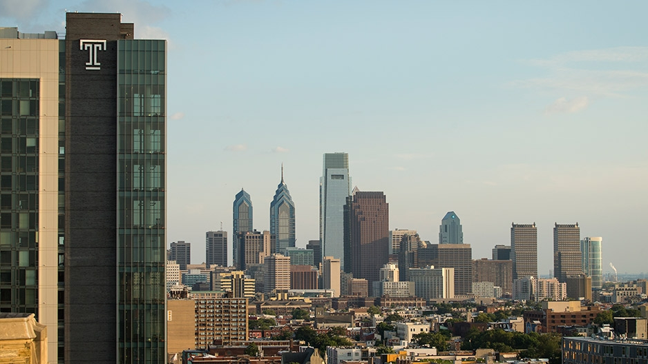 Philadelphia's skyline from Temple's Main Campus