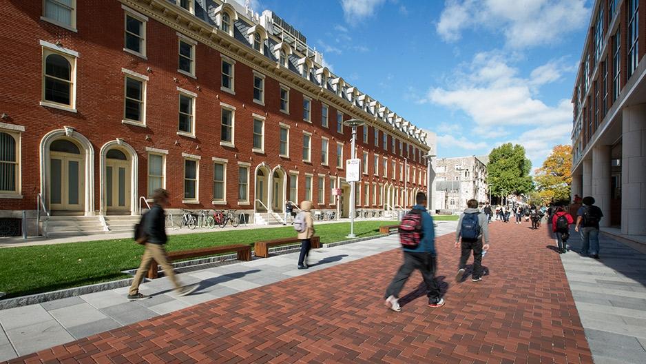 Students walking along Liacouras Walk on Main Campus