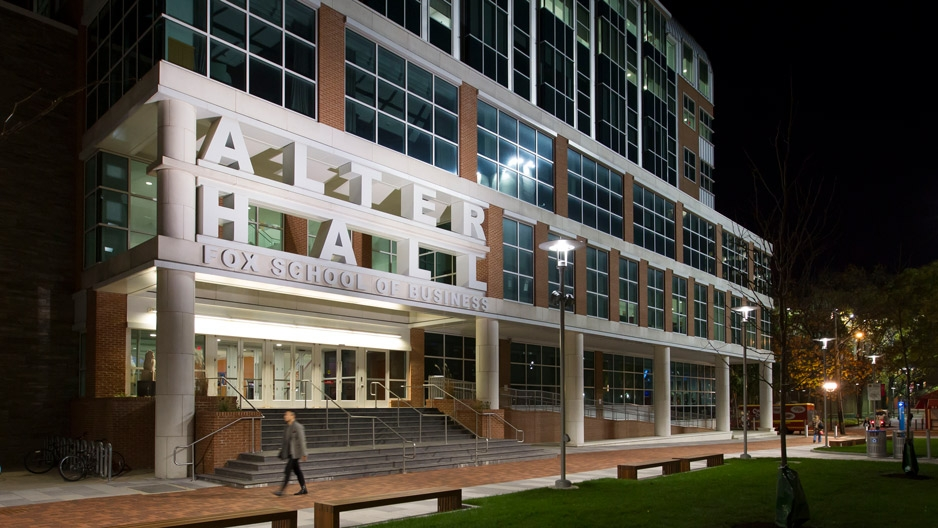 Temple University's Alter Hall at night.