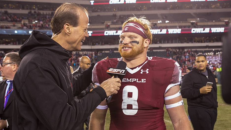 Football player Tyler Matakevich being interviewed by sports network ESPN.