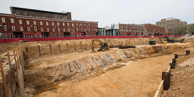The space on Main Campus where the new library will be built.